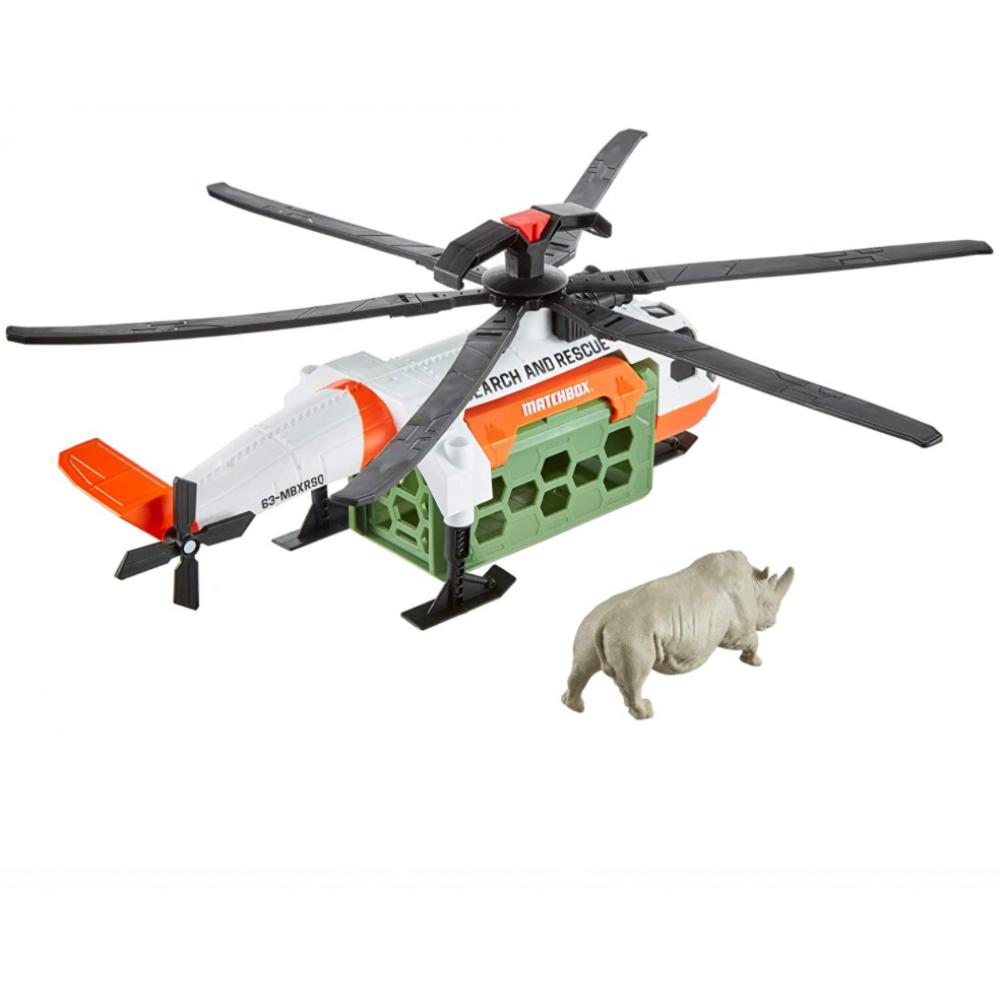 Набор Спасение Сафари Вертолет с фигуркой Носорога Matchbox Safari Rescue Mattel GMH70