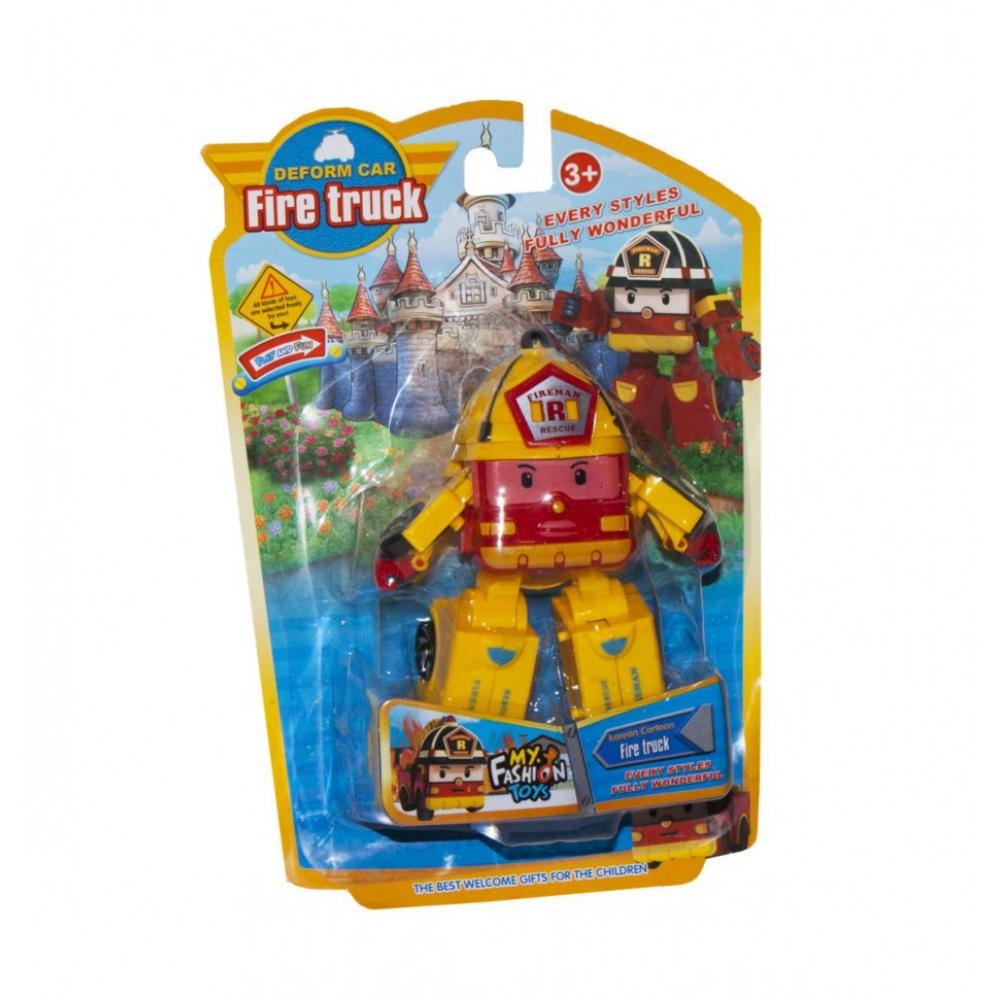 Детский трансформер Robocar POLI 378B высота 12 см (Желтый Пожарная)